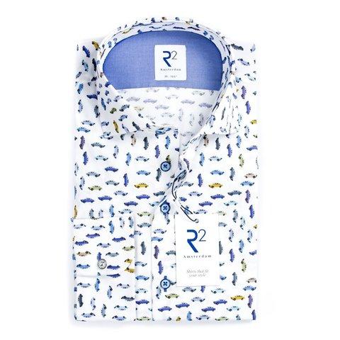 Wit auto print katoenen overhemd.