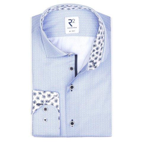 Lichtblauw mini-dessin katoenen overhemd.