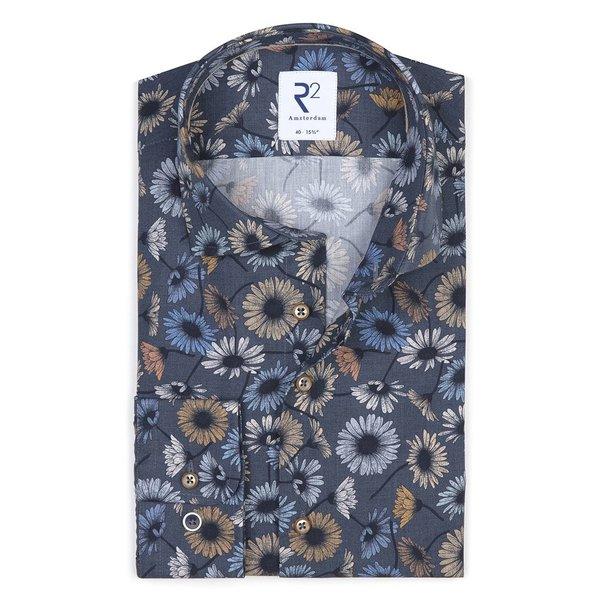 R2 Dark blue flower print cotton shirt.