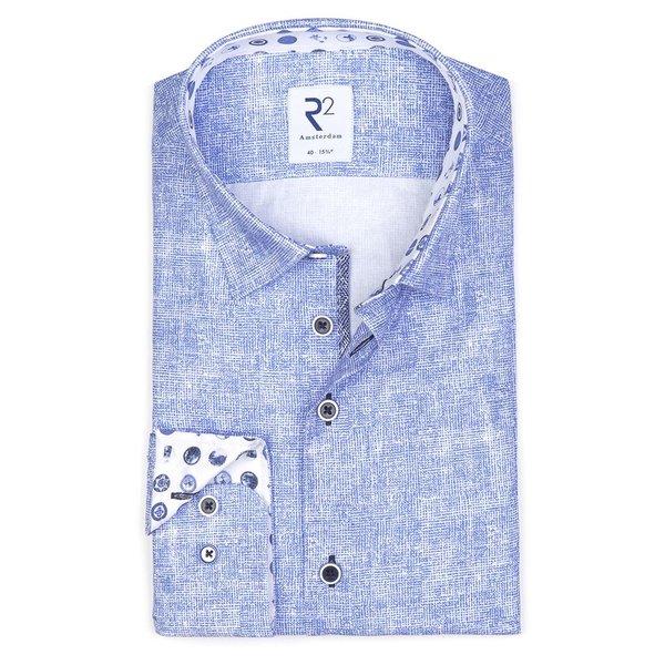 R2 Lichtblauw print katoenen overhemd.