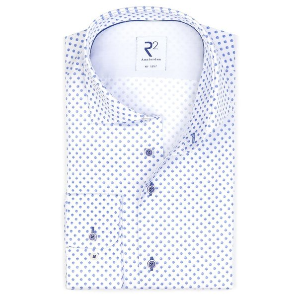 Wit stippen print katoenen overhemd.