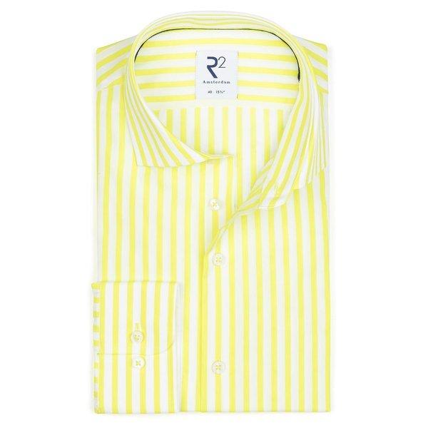 R2 Wit neon geel gestreept katoenen overhemd.