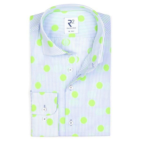 R2 Licht blue striped cotton shirt.