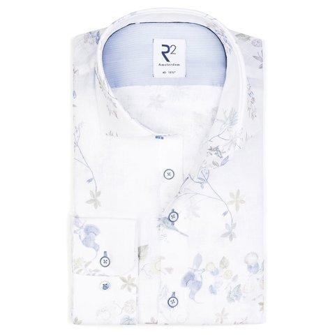 Wit bloemenprint dobby katoenen overhemd.