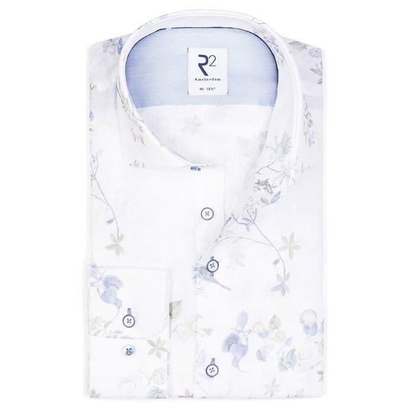 R2 Wit bloemenprint dobby katoenen overhemd.