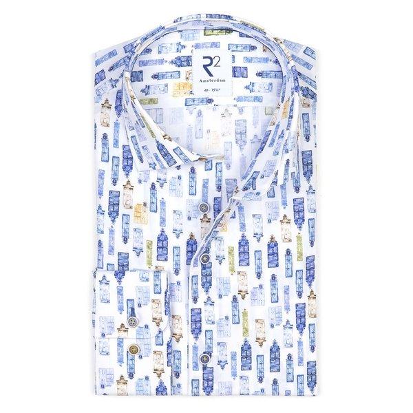 R2 Wit grachtenpand print katoenen overhemd.