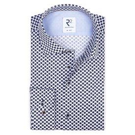 R2 White dot print cotton shirt.