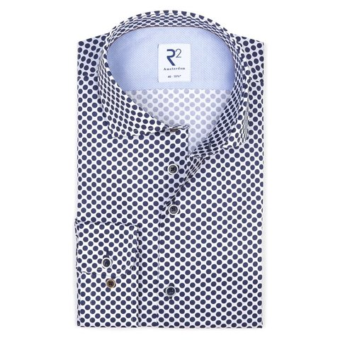 Weißes Punktdruck Baumwollhemd .