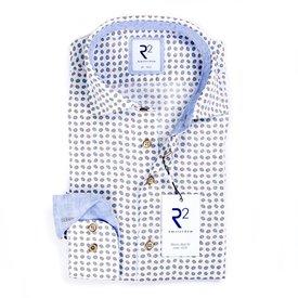 R2 White dots print linen shirt.