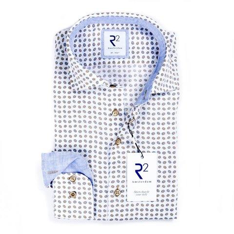 White dots print linen shirt.