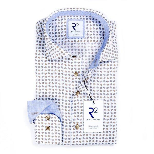 R2 Wit stippenprint linnen overhemd.