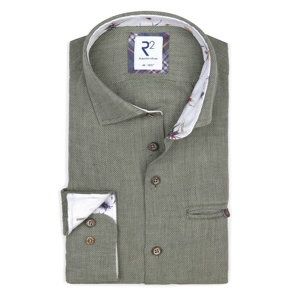 R2 Green linen/cotton shirt with chest pocket.