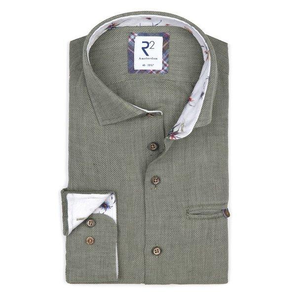R2 Groen linnen/katoenen overhemd met borstzak.