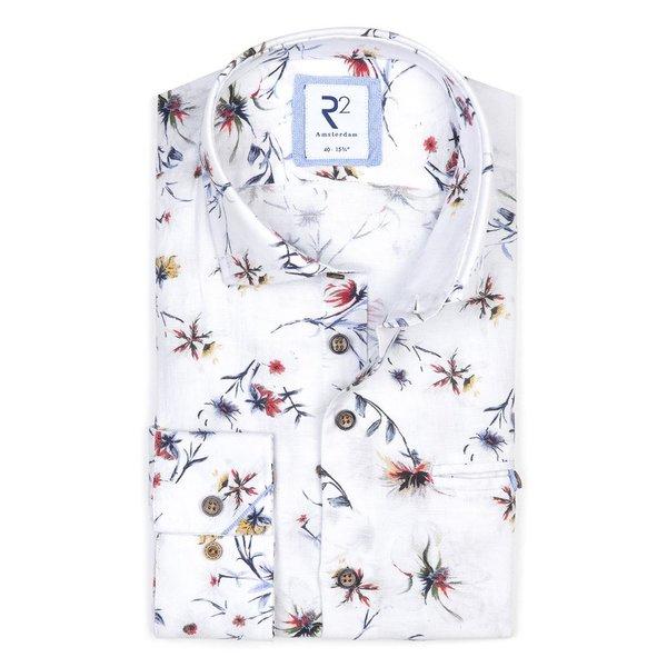 R2 Wit bloemenprint linnen/katoenen overhemd.
