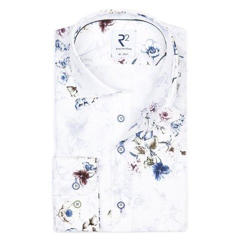 XL Fit. Wit bloemenprint katoenen overhemd.