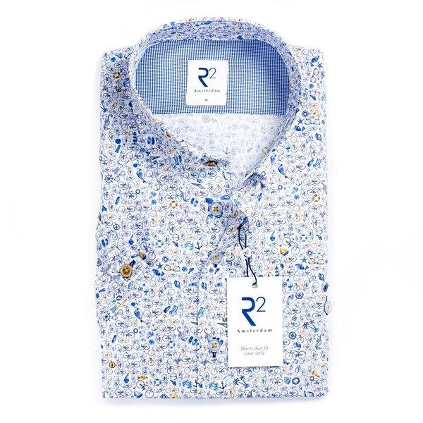 R2 Kurzärmeliges weißes Baumwollhemd mit Strand Druck.