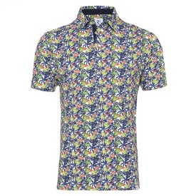 Multicolor tropical leaves print polo.