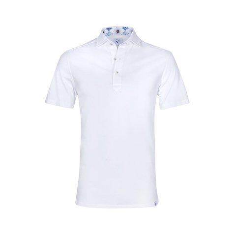 Witte piqué katoenen shirtpolo.