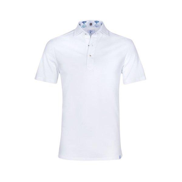 R2 Witte piquet katoenen shirtpolo.