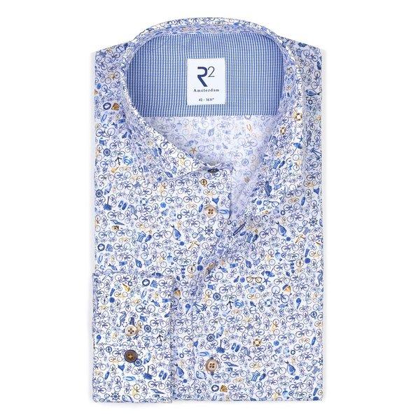 R2 White cotton shirt with blue bike print.