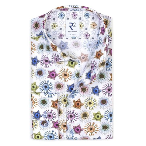 Meerkleurige grafische print katoenen overhemd.