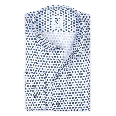 Weiß punktenprint Baumwollhemd.