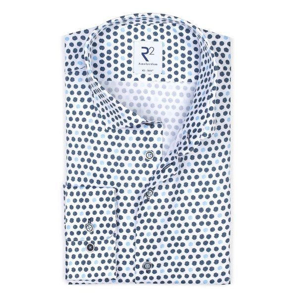 R2 Weiß punktenprint Baumwollhemd.