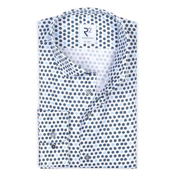 R2 Wit stippenprint katoenen overhemd.