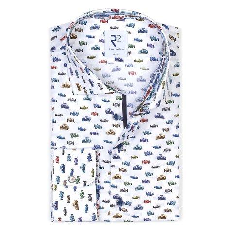 Wit met meerkleurige race auto print katoenen ovehemd.