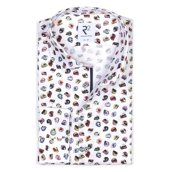 R2 Weißes Baumwollhemd mit mehrfarbigem Rennhelmdruck.