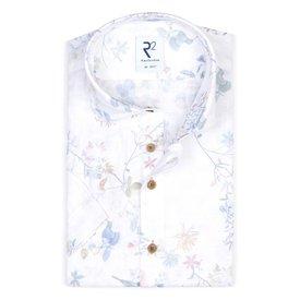 Short sleeves floral print linen shirt.