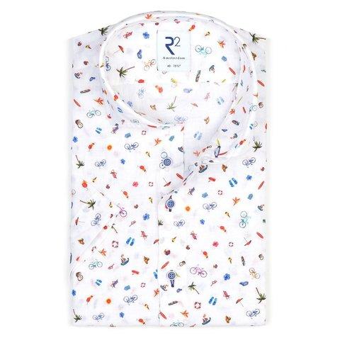 Korte mouwen vakantieprint linnen overhemd.