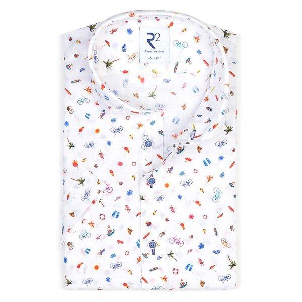 R2 Short sleeves summer holiday print linen shirt.