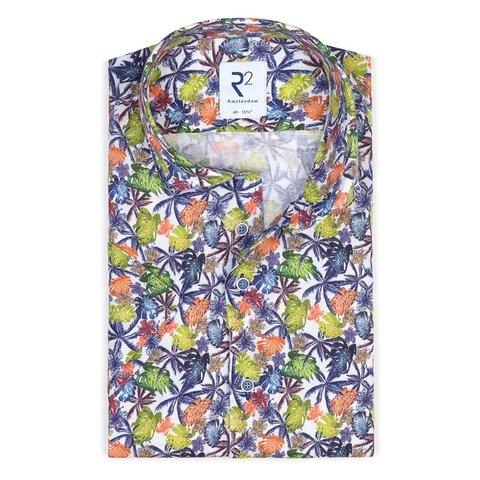 Short sleeves tropical leaf print linen shirt.