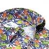 Korte mouwen tropische bladerenprint linnen overhemd.