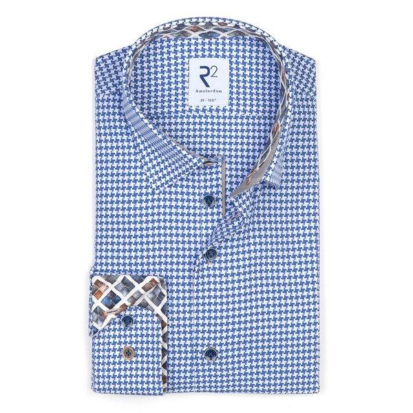 Blaues Baumwollhemd mit Pied de poule print.