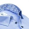 Blauw Pied-de-poule katoenen overhemd.