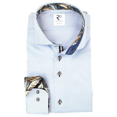 Blue Pied-de-poule 2 PLY cotton shirt.