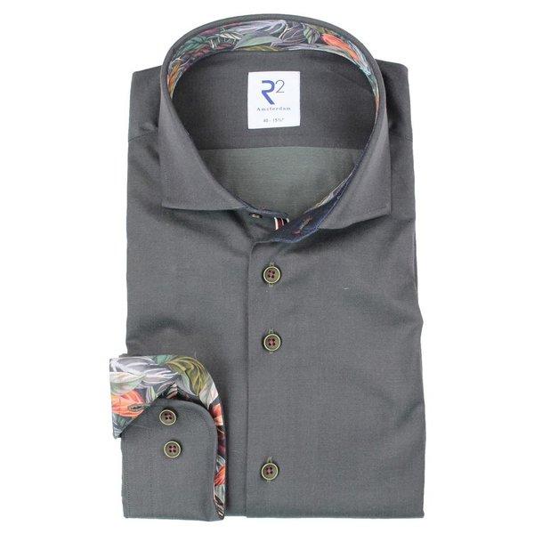R2 Dark green 2 PLY cotton shirt.