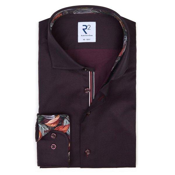 R2 Bordeaux 2 PLY katoenen overhemd.