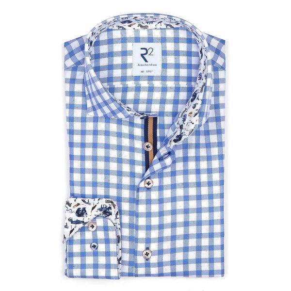 R2 Weiß-blau kariertes Baumwollhemd Royal Oxford.