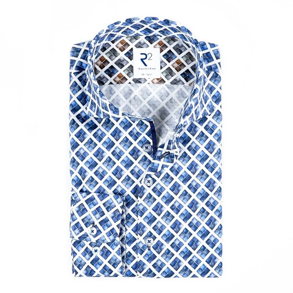 White blue graphical print cotton shirt.