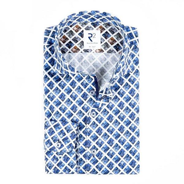 R2 Wit blauw grafische print katoenen overhemd.
