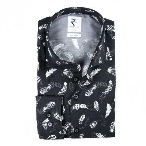 Zwart verenprint katoenen overhemd.