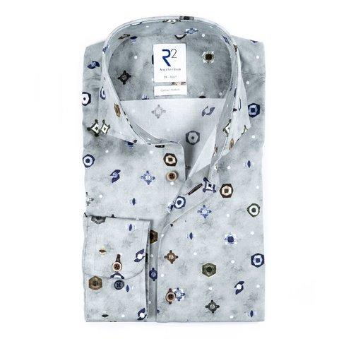 Grey graphical print cotton shirt.