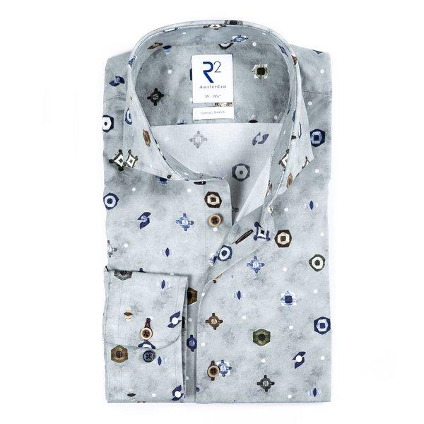 R2 Grijs grafische print katoenen overhemd.