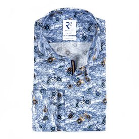 Blaues Baumwollhemd mit Radfahrerprint.