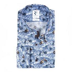 Blue cycling print cotton shirt.