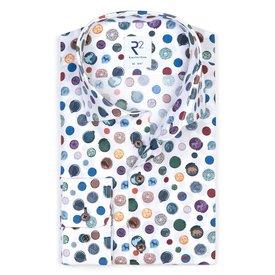 R2 White dots cotton shirt.