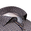 Dark blue floral print cotton shirt.